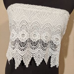 Women's Lace boob tube/crop top, medium, white